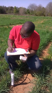 Ricardo St. Aime collecting cover crop data