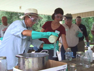 People making biofuel at a workshop