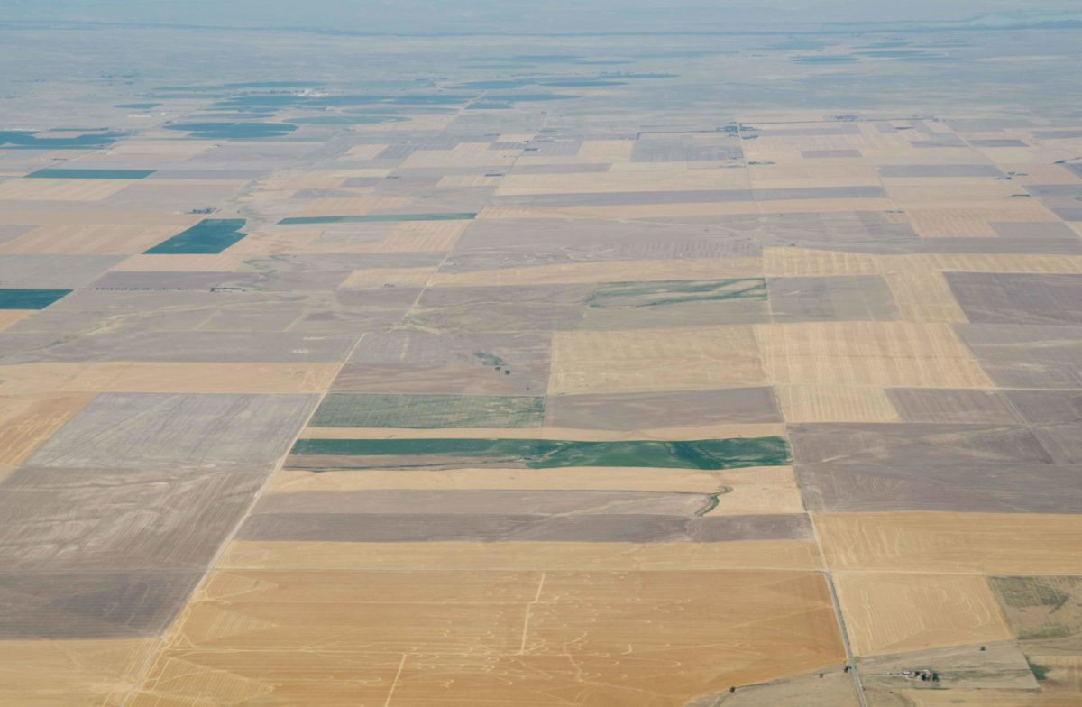 Aerial view of farm fields in drought
