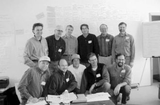 FIGURE 2.2 Expert organic vegetable farmer panel, convened January 30 to February 1, 2002. From upper left: Jean-Paul Courtens (NY), Eero Ruuttila (NH), Paul Arnold (NY), David Blyn (CT), Roy Brubaker (PA), Don Kretschmann (PA), Jack Gurley (MD), Brett Grohsgal (MD), Polly Armour (NY), Drew Norman (MD), Will Stevens (VT). Not pictured: Jim Gerritsen (ME).