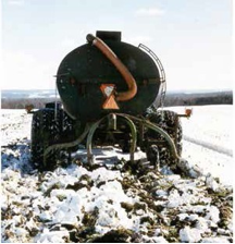 Figure 12.2. Injection of liquid manure into shallow frozen soils, which eliminates compaction concerns and reduces spring application volumes.