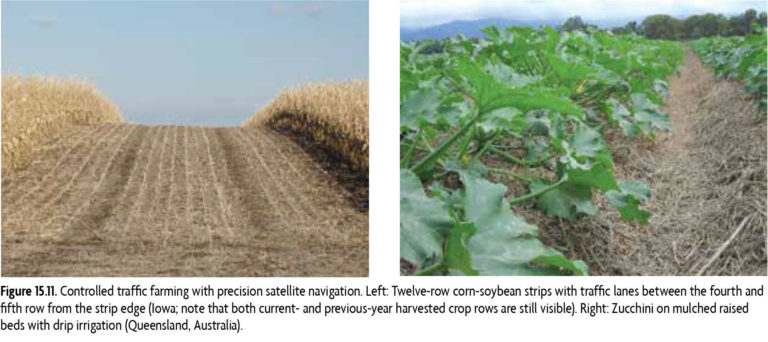 Figure 15.11 Controlled traffic farming with precision satellite navigation. Left: Twelve-row corn-soybean strips with traffic lanes between the fourth and fifth row from the strip edge (Iowa; note that both current and previous year harvested crop rows are still visible). Right: Zucchini on mulched raised beds with drip irrigation (Queensland, Australia).