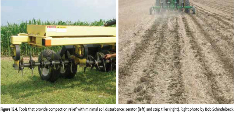 Tools that provide compaction relief with minimal soil disturbance: aerator (left) and strip tiller (right). Right photo by Bob Schindelbeck