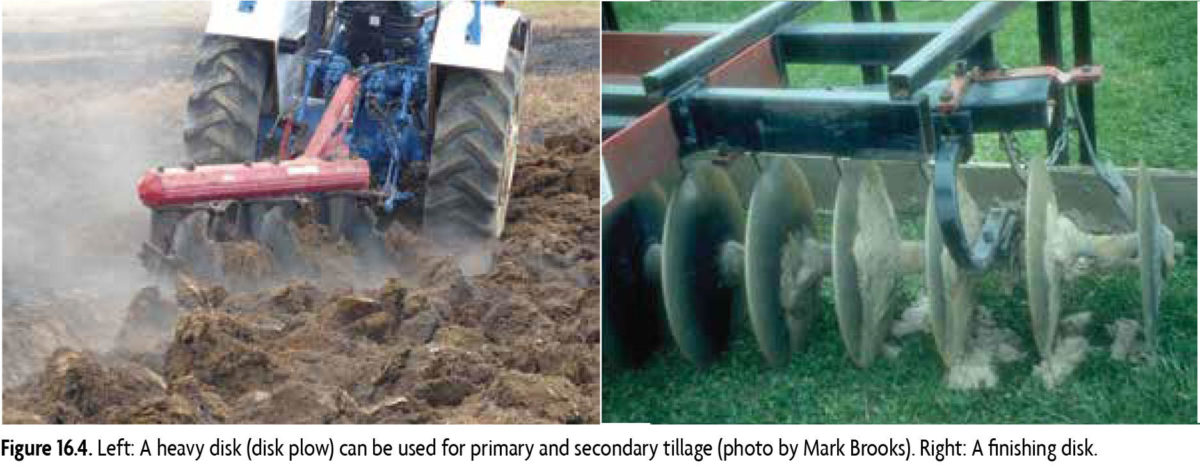 Figure 16.4: Left: A heavy disk (disk plow) can be use for primary and secondary tillage. Right: a finishing disk.