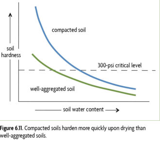 Figure 6.11 Compacted soils harden more quickly upon drying than well-aggregated soils.