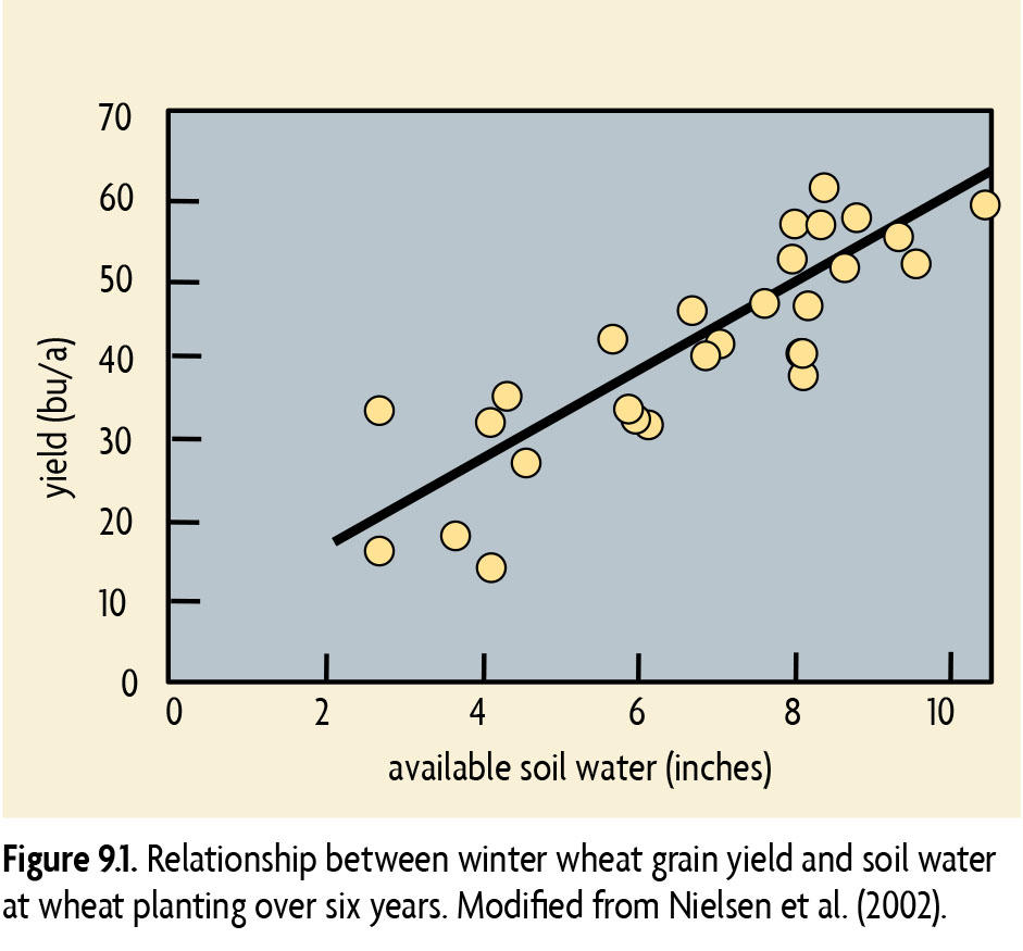 Graph illustrating winter weat grain yield and soil water relationship