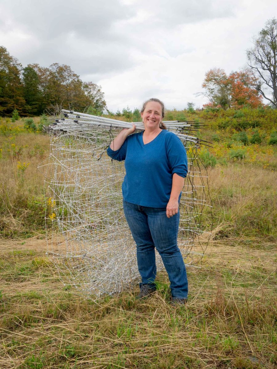 Woman standing in field holding wire fencing