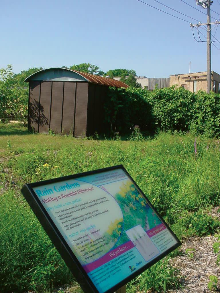 newly established rain garden behind an inner-city factory