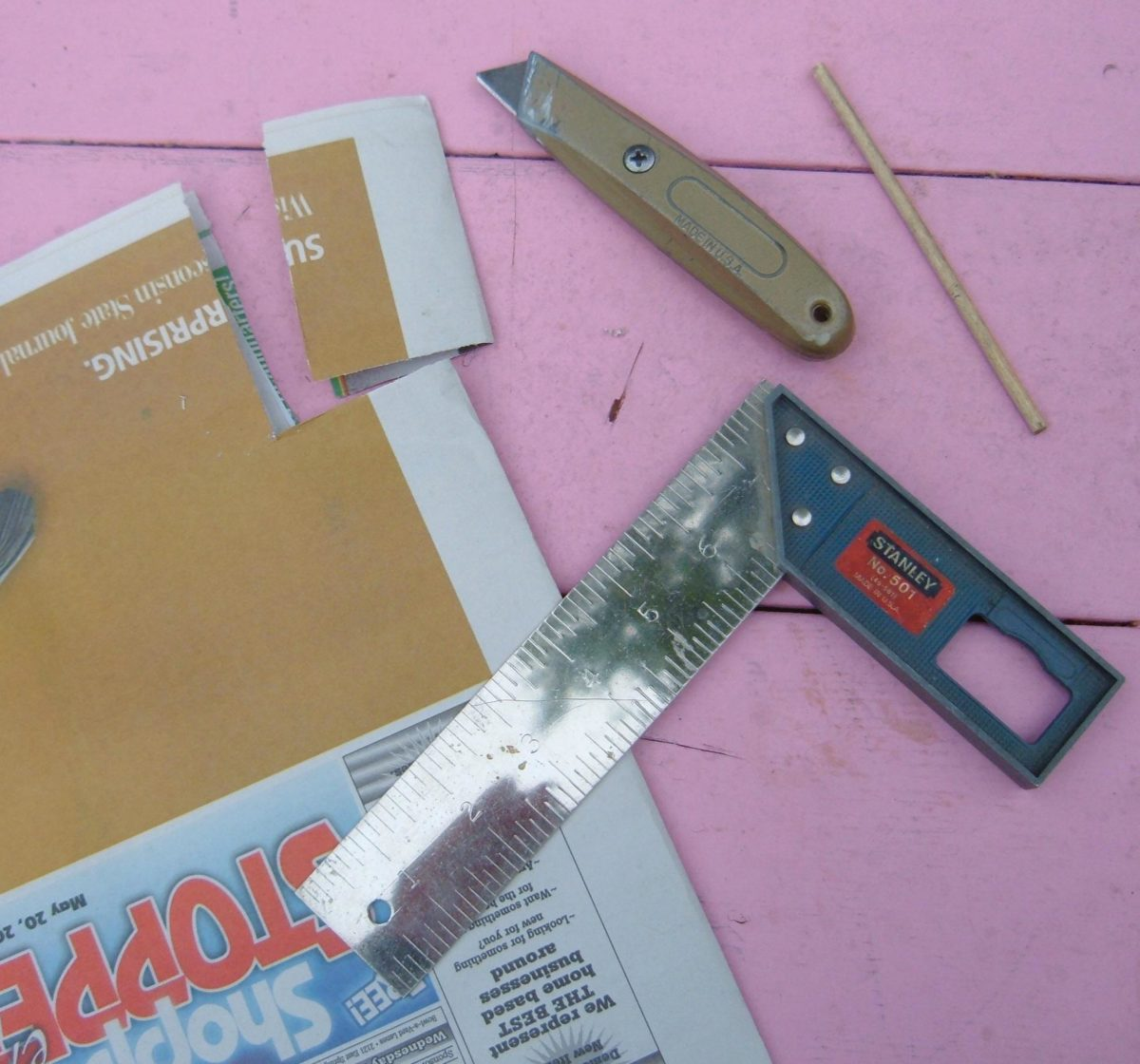 Materials and tools needed to make paper tube liners.