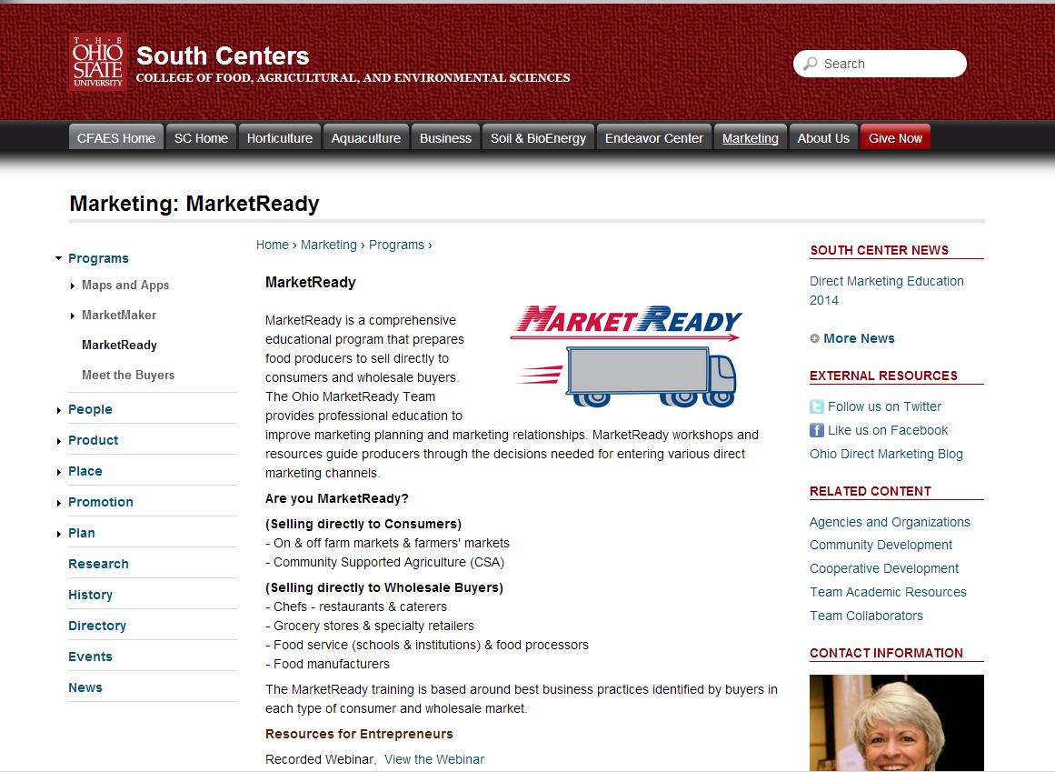 screenshot of MarketReady Educational Resources website