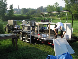 a mobile poultry processing unit built on a trailer bed