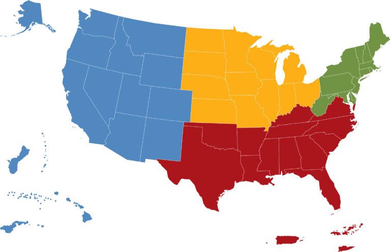 Map of SARE regions
