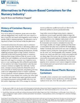 University of Florida nursery fact sheet cover