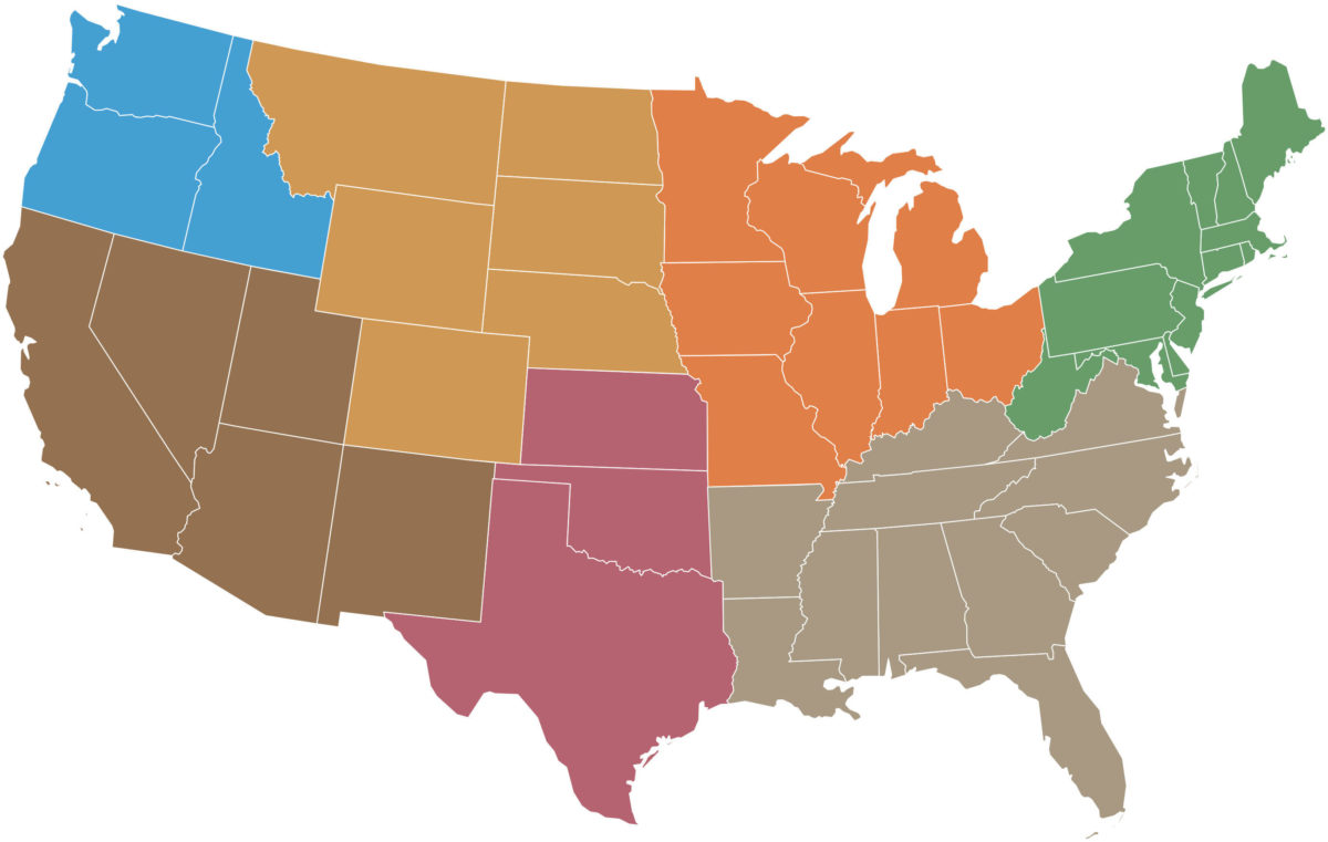 Map of the US showing climate hub regions