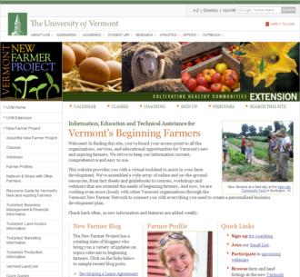 Screenshot of UVM Beginning Farmers Website