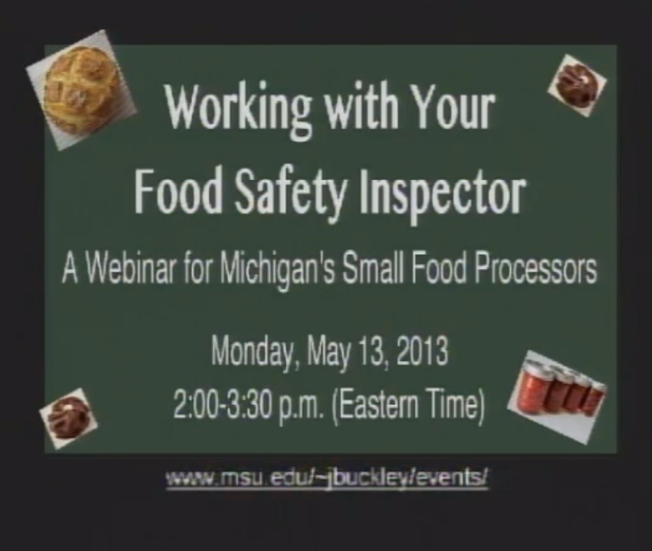 working with your food safety inspector webinar