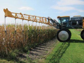 Cover crop interseeder in a field