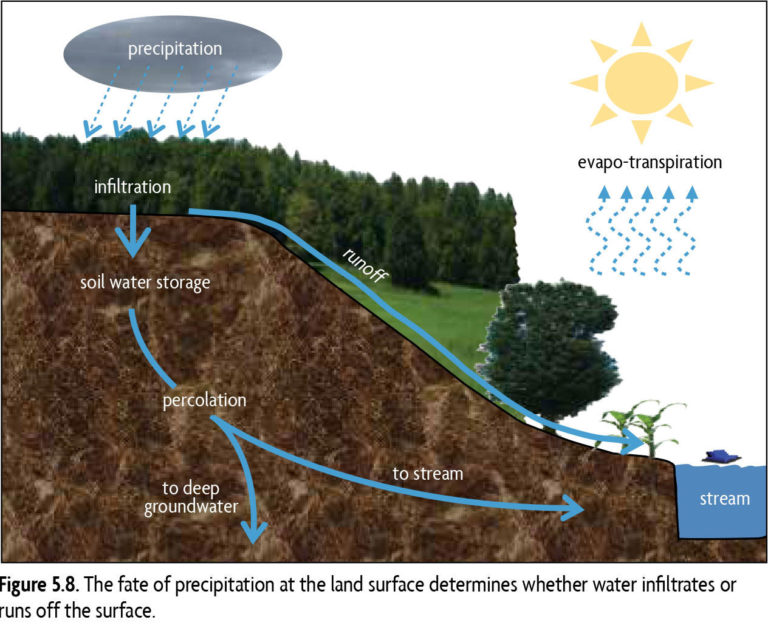 Figure 5.8. The fat of precipitation at the land surface determines whether water infiltrates or runs off the surface