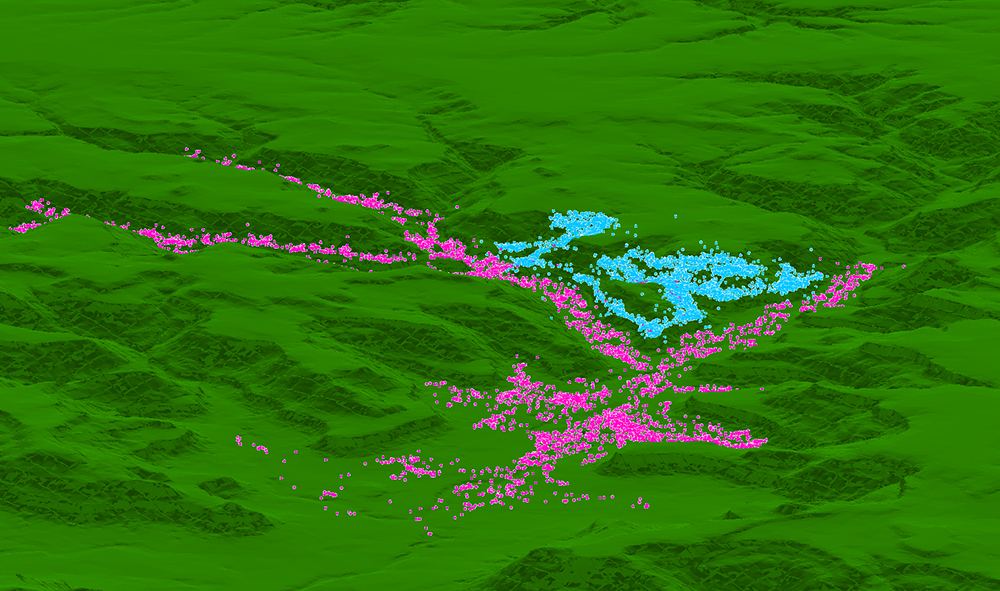 Data map of cattle grazing patterns