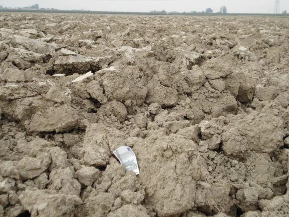 Large soil clods after tillage