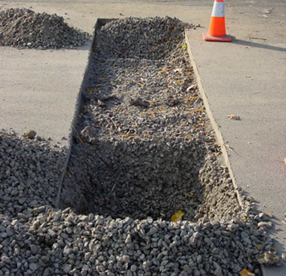 planting hole for pavement