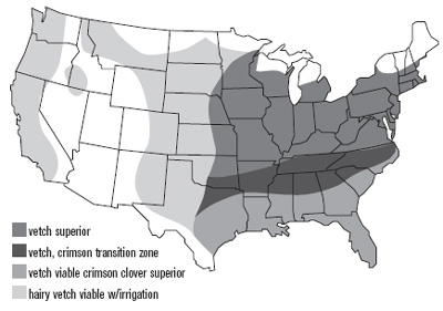 United States Map of Hairy Vetch growth