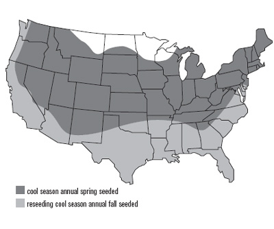 United States map of subterranean clover growth