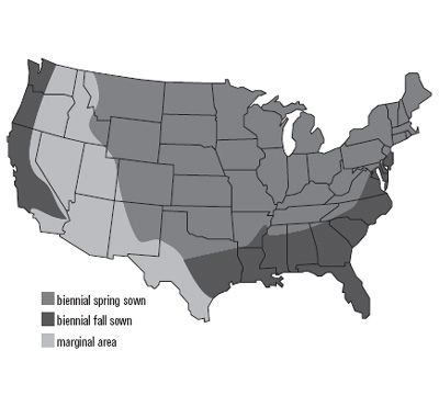 United States map of sweet clover growth