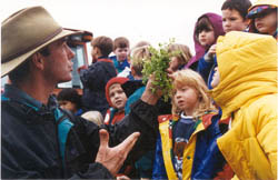 The next generation of farmers? Students learn about ecological farm design from oregon fruit and vegetable grower Larry Thompson.