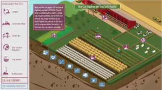 Screenshot of an animated farm landscape