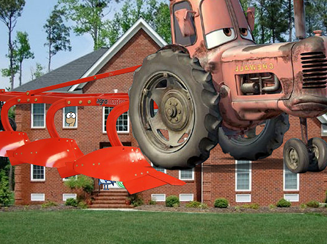 animated plow on top of a house