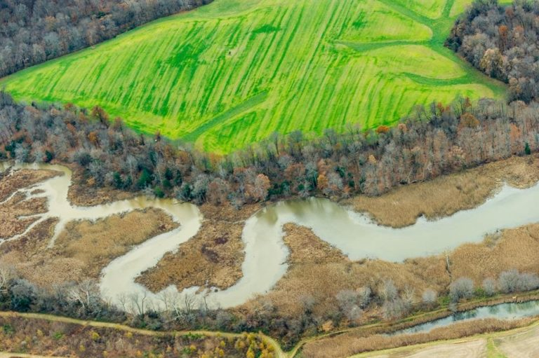 aerial view of farm fields and creek